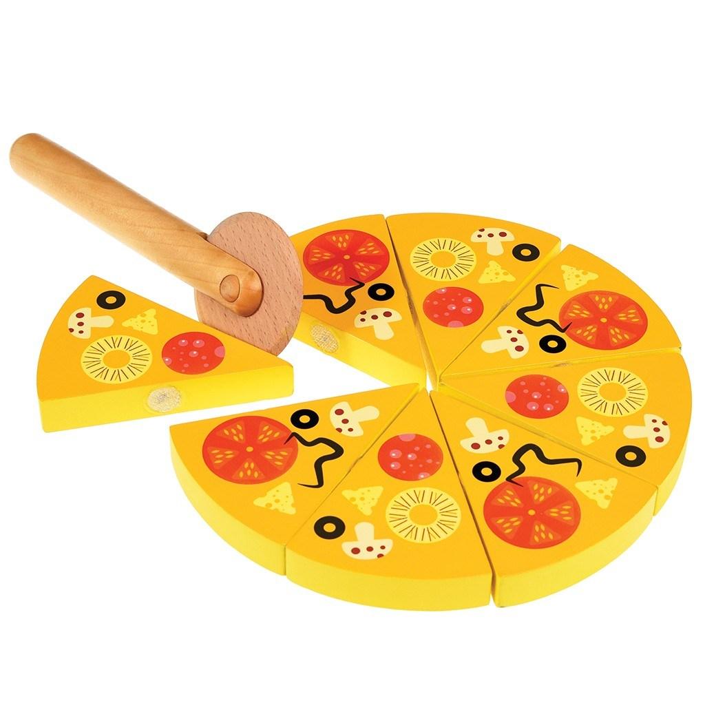 Drevená pizza s krájačom
